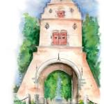 Het  blauwe poortje... met  de rode luikjes